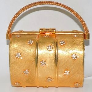 RODO Bag Italy Gold Metal Crystals Flowers 1970's